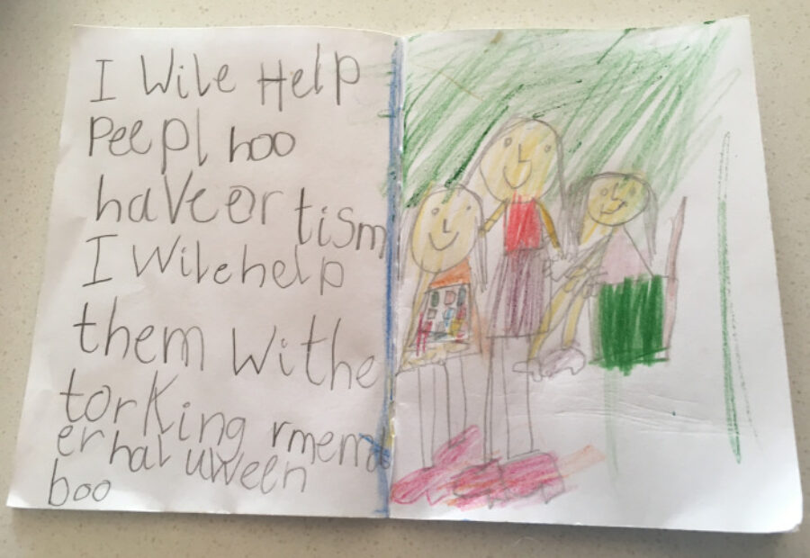 A child's picture with the text